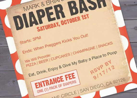 Zany image with free printable diaper party invitation templates