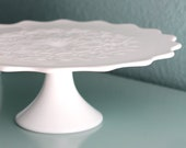 Milk Glass Cake Stand / Vintage Cake Stand Pedestal for Vintage Weddings / Scroll Embossed Scallop Cake Plate / Spanish Lace