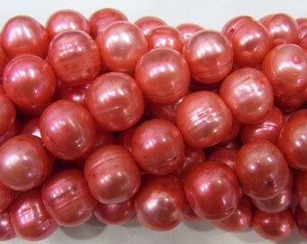 10-11mm Offround Dark Salmon Freshwater Pearl 15 inches length, 38 cm-