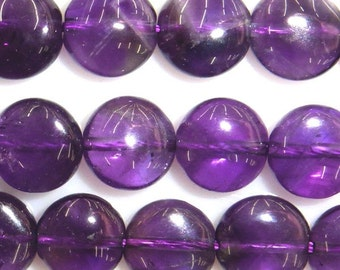 12mm Flat Round Amethyst Beads Genuine Natural 15''L 38cm Loose Beads Semiprecious Gemstone Bead   Supply