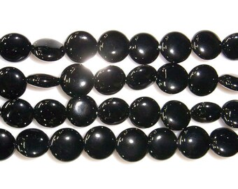 Agate Bead Natural Genuine 10mm Flat Round Black Beads 15''L 38cm Loose Beads Semiprecious Gemstone Bead   Supply