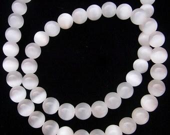 Cat Eye Beads 10mm Round White 15''L Semiprecious Gemstone Bead Wholesale Beads Supply