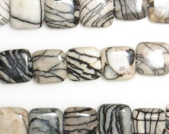 12mm Square Zebra Jasper Beads Genuine Natural 4998 15''L Semiprecious Gemstone Bead Wholesale Beads Supply