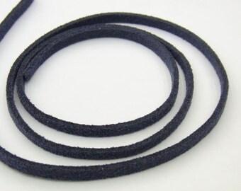 1.5x3mm Korean Velvet Cord  Blue 5m String - -