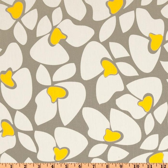 Items Similar To Sale Floral Fabric Premier Prints Helen Storm Grey Corn Yellow Fabric By The