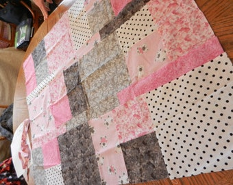 Pink, Hot Pink, White, Black, Bear, Teddy Bear, Baby Quilt Top Quilttop, Ready to Finish, Handmade, 33x42