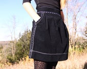 HighOver U Black luxe corduroy skirt with top stitching and accented piping