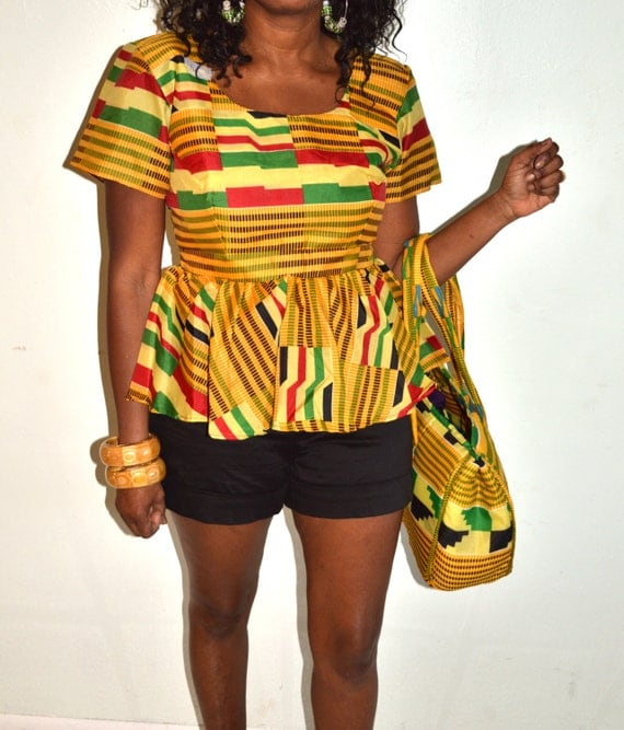 african kente peplum top kente print peplum top handmade blouse