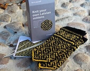 Latvian Mitten Knitting DIY Kit Grass Snake