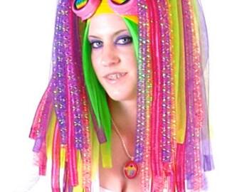 Kawaii Cupcake Cyberlox Falls with Rexlace (Crin, Hair, Dreads, Wig, Rainbow, Harajuku, Cosplay)