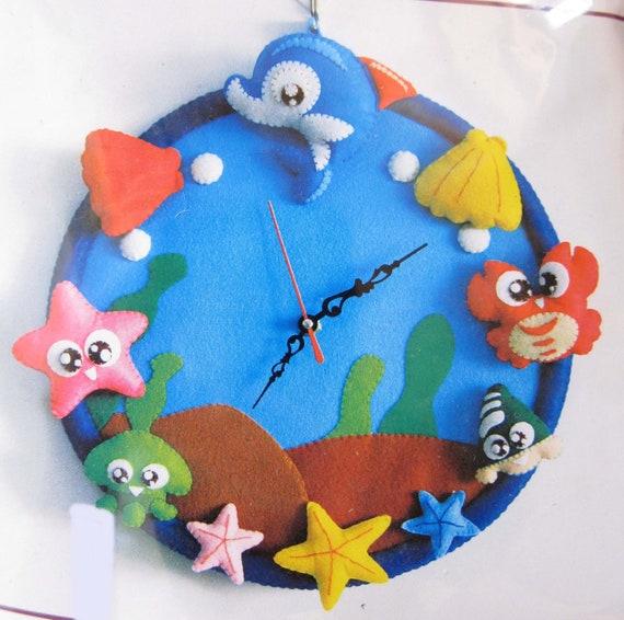 DIY Kit Sea Ocean Animals Hanging Clock Sewing Project, Kids Crafts, Sew for Kids, ShineKidsCrafts