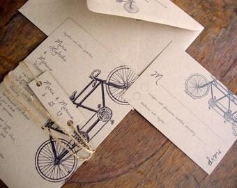 """DIY Printable Wedding Invitation, Rustic Wedding Invitation, Tandem Bike Wedding, """"Tandem Bike"""" Wedding Invitation, DIY"""