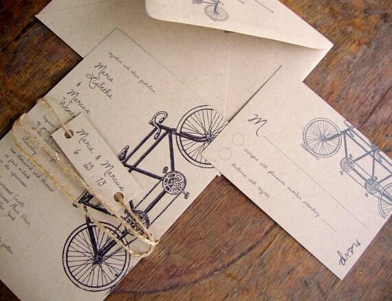 Tandem Bike Wedding Invitations: Tandem Bike Wedding Invitation Eco Friendly By BirchandBliss