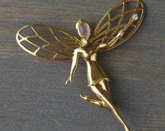 14k Gold Fairy Brooch Pin, Moonstone face, Diamond Wand - Vintage 1940s - June Birthstone