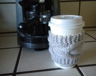 Hand Knit Cabled Coffee Cup Cozy, Sleeve - Linen