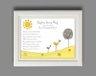 Personalized Baptism Gift Or Birth Announcement - Childs Baptism Nursery Art - Baby Boy Or Girl Personalized Print, Print