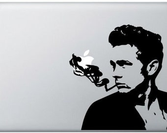 Smokin' James - James Dean MacBook Sticker, MacBook Pro, MacBook Air, Laptop sticker, Vinyl decal, Actor, Porsche Spyder, Cigarette, Smoke