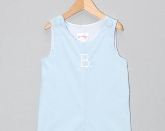 Boys Shortall Jon Jon Light Blue Monogram Personalize Outfit