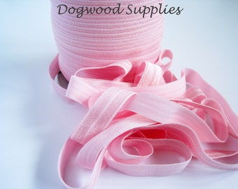 100 Yard Roll 5/8 Baby Pink Elastic, Satin Elastic, Fold Over Elastic, Shiny Elastic, Baby Headband, FOE, Foldover Elastic, foe