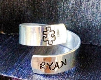 Puzzle Piece, Spiral Ring, Personalized Ring, Engraved ring, Autism, Tree of Life, yoga ring, Ohm ring, music ring, peace ring,   SPRALS01