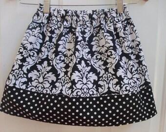 girls skirt fall skirt Michael Miller damask skirt black and white skirt twirly skirt girls clothing fall clothing toddler skirt