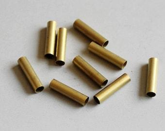 300pcs Cut Raw Brass Tube Cylinder Shape Beads10mm x 3mm - F82