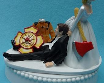 Wedding Cake Topper Firefighter Fireman Logo Uniform Axe Themed w/ Bridal Garter Bride Groom Fire Jacket Tribute Funny Reception Centerpiece