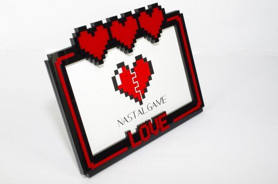 Pixel Heart 4x6 Photo Frame Zelda Acrylic Plastic