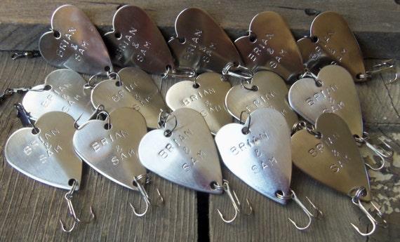 fifteen hand stamped wedding favors bulk custom fishing lures, Fishing Bait
