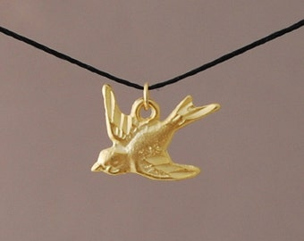 Gold or Silver DOVE bird Wish String NECKLACE or BRACELET