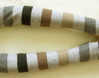 SALE, Lambswool, Stripes, Very Long Arm Warmers, Multicolored, Soft Fingerless Gloves, Boho, Hippie, with Thumb Hole. IDEAL for HER