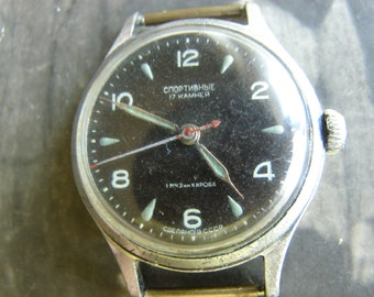 Serviced RARE Vintage SPORTIVNIE Poljot 1MChZ kirovskie ussr watch 1960s Like Pobeda