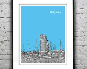 Gdynia Poland Skyline Poster Art Print  Boats Port