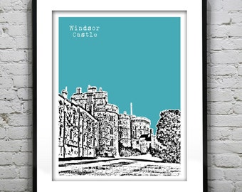 Windsor Castle  London England Skyline Poster Berkshire United Kingdom Art Print Version 9