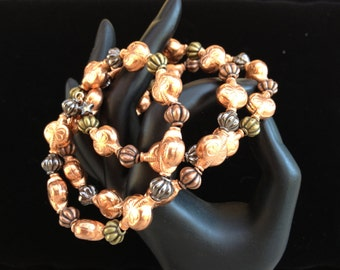 Copper and Metal Memory Wire Bracelet