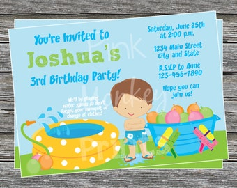 DIY - Boy Water Games Pool Party Invitation  Birthday Invitation 2 - Coordinating Items Available