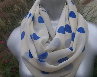 polka dot infinity circle loop scarf Blue off white chiffon Ivory