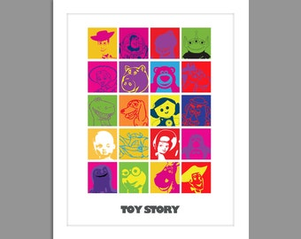 Digital Download Toy Story All Characters Modern Poster Art Nursery Art Print, Nursery Art Boys Room - 8x10 or 11x14