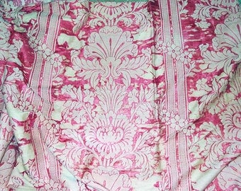 Antique Fabric Victorian Silk and Linen Damask 1800s