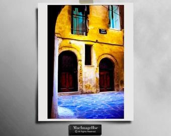 Chania in Crete, Old Street,Shabby,Beautiful,Art print,Alternative sizes,Yellow,Blue