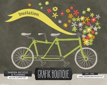 Tandem bicycle basket flowers hand drawn vector clip art, wedding, save the date, label, diy invitation