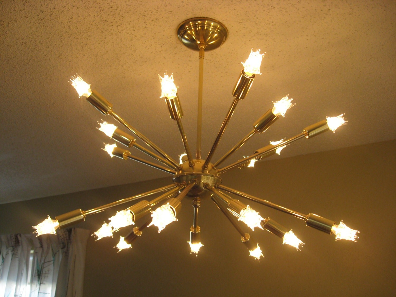 Mid Century Atomic Brass Sputnik 20 Arm Ceiling Starburst