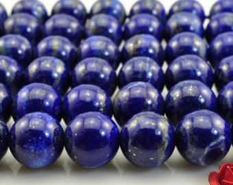 A A grade-39 pcs of  Natural Lapis Lazuli smooth round beads in 10mm