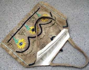 vintage handmade sackcloth handbag with floral design country cottage style