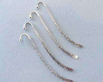 4 Tibetan silver bookmarks - bookmark blanks - craft bookmarks - silver bookmark - 85mm x 14mm