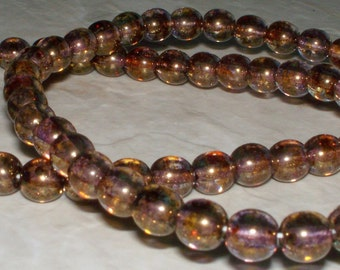 44 Czech Copper Luster Glass Rounds - 4MM