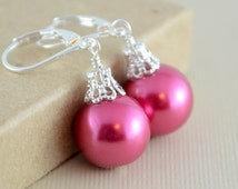 Raspberry Pink Earrings, Large Glass Pearls, Bright and Colorful, Christmas Balls, Silver Plated Lever Earwires, Fun Holiday Jewelry