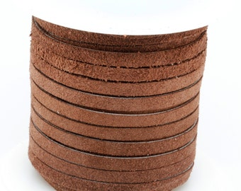 25 Yard / 75 Feet Spool of  5MM Chocolate Brown Leather Suede Lace