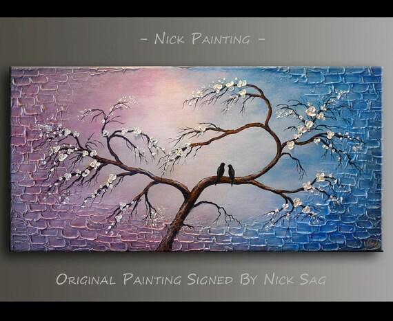 Heart Shaped Tree Painting Impasto Romantica By Nick Sag
