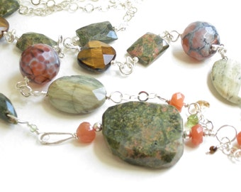 chunky stone necklace, earthy boho necklace, statement necklace, spring summer jewelry